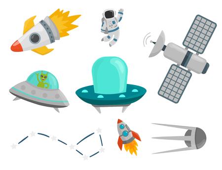 宇宙船将来探査宇宙船宇宙飛行士ロケット シャトル ベクトル図を惑星に着陸宇宙飛行士スペース  イラスト・ベクター素材