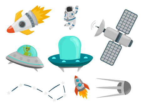Astronaut space landing planets spaceship future exploration space ship cosmonaut rocket shuttle vector illustration