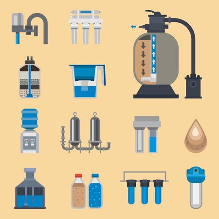 El fresco del icono de la purificación del agua recicla el ejemplo del vector de la colección del tratamiento del astewater de la bomba.
