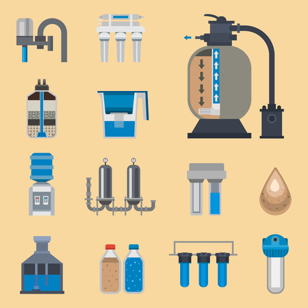 Water purification icon faucet fresh recycle pump astewater treatment collection vector illustration. Reklamní fotografie - 88462330