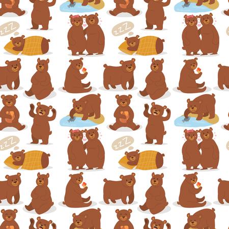 만화 곰 문자 테 디 포즈 벡터 원활한 패턴 배경 야생 회색 곰 귀여운 그림 사랑 스럽다 동물 디자인입니다. 일러스트