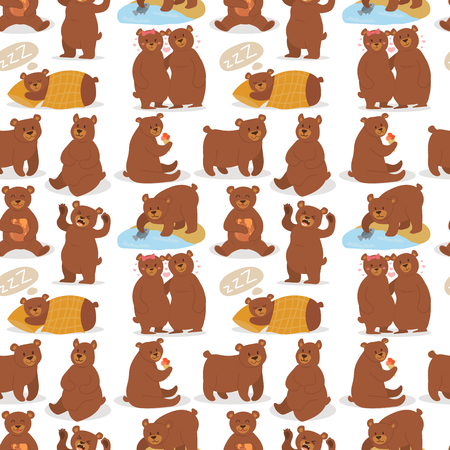Cartoon bear character teddy pose vector seamless pattern background wild grizzly cute illustration adorable animal design. 向量圖像