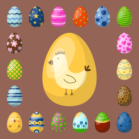 Easter eggs painted with spring pattern multi colored organic food holiday game vector illustration. Banco de Imagens - 88462350