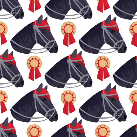 Horse pony head stallion seamless pattern background farm equestrian animal character vector illustration.