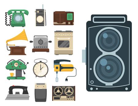 Retro vintage household appliances vector kitchenware antique technology utensil housework electric equipment illustration. Illustration