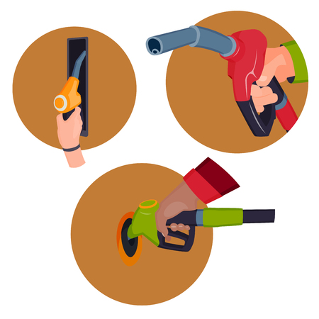 Filling gasoline station pistol in people hands refinery refueling petroleum tank service tool vector illustration