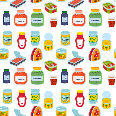 Collection of various tins canned goods food metal container product seamless pattern vector illustration.