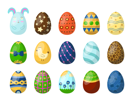 Easter eggs painted with spring pattern multi colored organic food holiday game vector illustration. Ilustração
