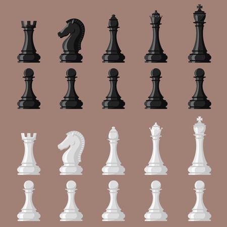 체스 보드와 chessmen 벡터 레저 개념 나이트 그룹 흰색과 검은 색 조각 경쟁 일러스트