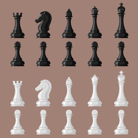 Chess board and chessmen vector leisure concept knight group white and black piece competition Banco de Imagens - 88528628