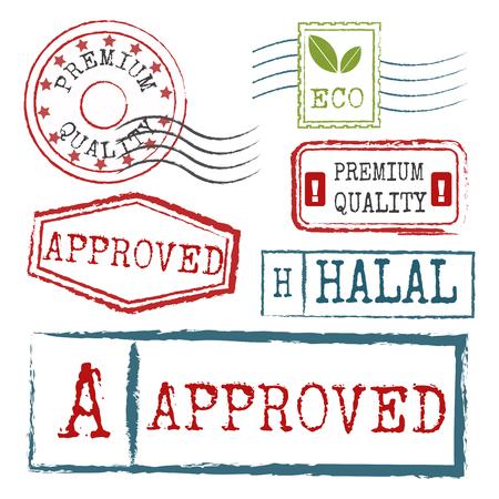 Reiszegels fictieve internationale luchthaven symbolen grunge paspoort of port symbool vectorillustratie