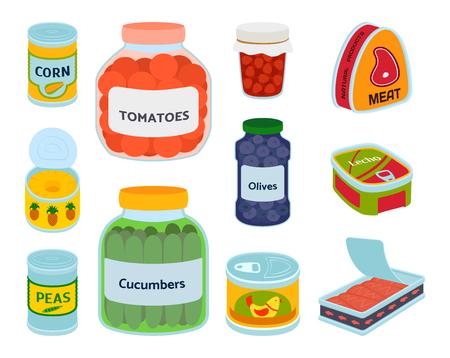 Collection de diverses boîtes en conserve alimentaire métal conteneur produit vector illustration. Vecteurs