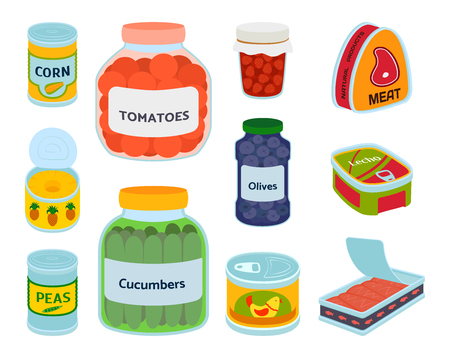 Collection of various tins canned goods food metal container product vector illustration.