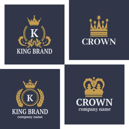 Crown king vintage premium white badge heraldic ornament luxury kingdomsign vector illustration.