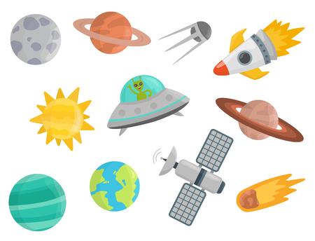 Space landing planeten ruimteschip zonnestelsel toekomstige exploratie ruimteschip raket shuttle vectorillustratie
