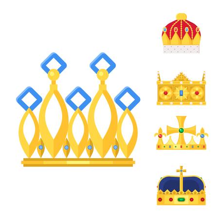 Crown king vintage premium white badge heraldic ornament luxury kingdomsign vector illustration. Imagens - 88751139