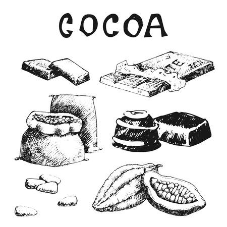 De vectorcacaoproducten overhandigen getrokken van het de voedselchocolade van de schetskrabbel de zoete illustratie. Stock Illustratie