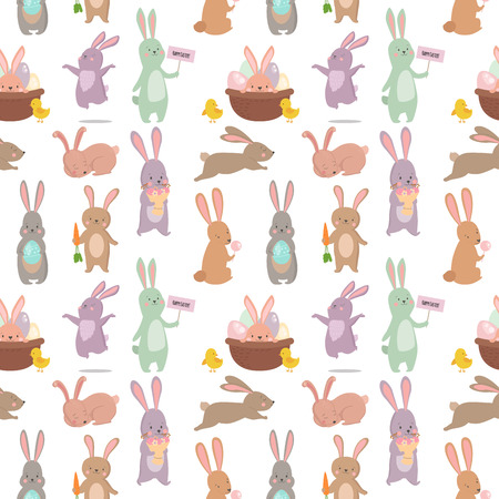 Easter rabbit character bunny seamless pattern background vector cute happy animal illustration.