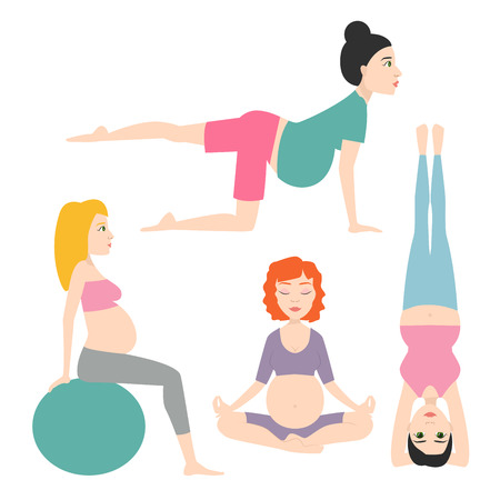 pregnancy exercise: Pregnancy sport fitness people healthy character lifestyle concept woman yoga vector illustration.