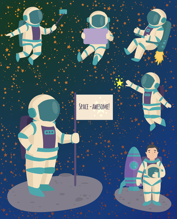 Vector astronauts in space, working character and having fun spaceman galaxy atmosphere system fantasy traveler man. Ilustração