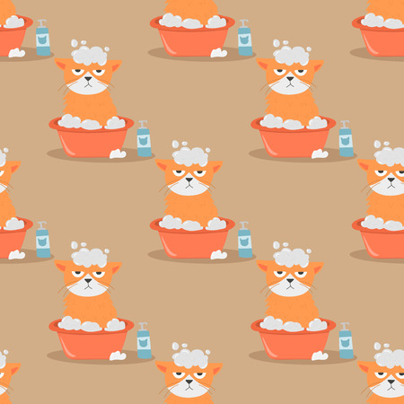 Cats heads vector illustration cute animal funny seamless pattern background characters feline domestic trendy pet Illustration