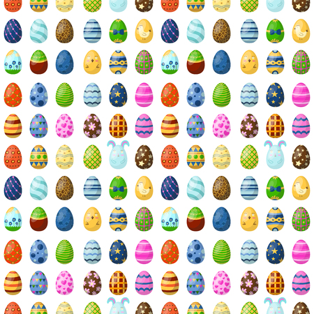 Easter eggs painted with spring seamless pattern background multi colored organic food holiday game vector illustration. Ilustração