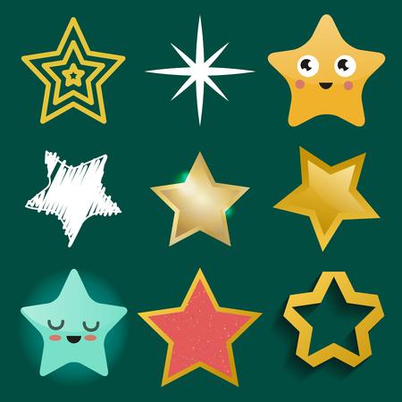 別のスタイルの光沢のある星のアイコンは、五角形の金賞抽象デザイン落書き夜芸術的シンボル ベクトル図を指摘しました。
