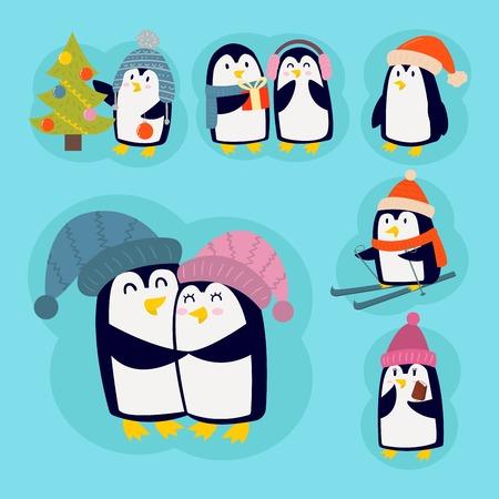 Penguin christmas vector illustration character cartoon funny cute animal antarctica polar beak pole winter bird. Illustration