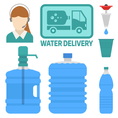 Water delivery icon. Illustration
