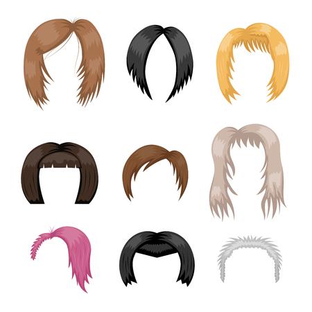 女性髪スタイリング ベクトル イラスト若い茶色シルエット健康色髪形のセット