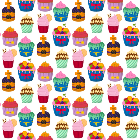 Cute vector cupcakes and muffins chocolate seamless pattern background celebration birthday food sweet bakery party cute sprinkles decoration.