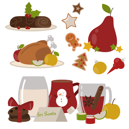 Set of traditional christmas food and desserts holiday decoration xmas sweet celebration dessert vector illustration. Vector traditional festive winter cake homemade dinner