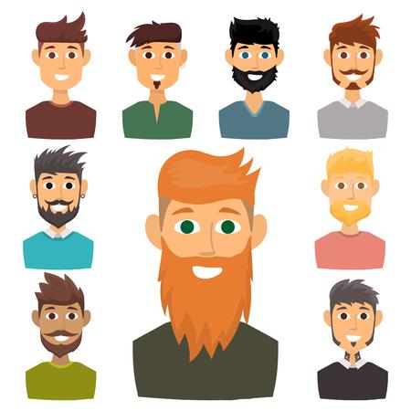 Caractère de diverses expressions homme barbu visage avatar et mode hipster coiffure tête personne avec illustration vectorielle moustache. Style design gentleman adulte sourire expression. Banque d'images - 89471181