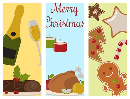 Set of traditional christmas food flayer desserts holiday decoration xmas sweet celebration dessert vector illustration.