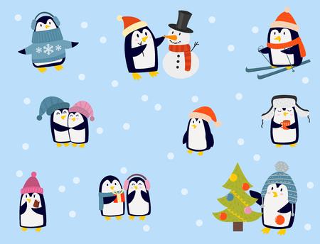 ペンギンクリスマスベクターイラストキャラクター漫画おかしいかわいい動物南極シロくちばしポール冬の鳥。  イラスト・ベクター素材