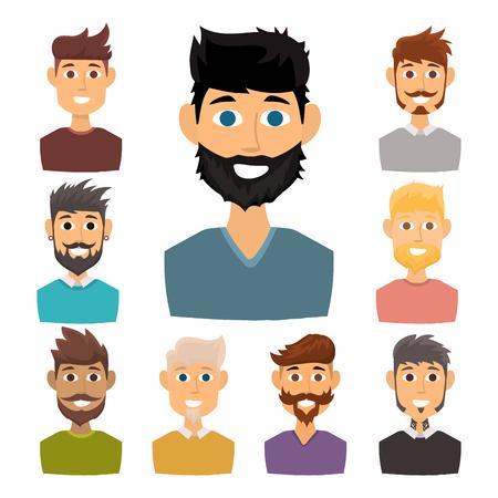Caractère de diverses expressions homme barbu visage avatar et mode hipster coiffure tête personne avec illustration vectorielle moustache. Banque d'images - 89506077
