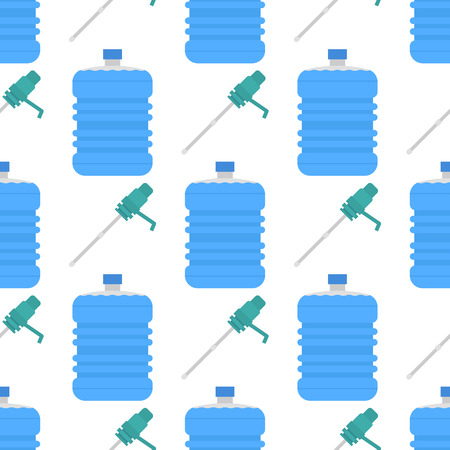 Water delivery vector seamless pattern background drink bottle plastic blue container business service.