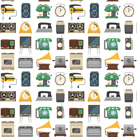 Retro vintage household appliances vector kitchenware seamless pattern background technology utensil housework electric equipment illustration. Ilustrace