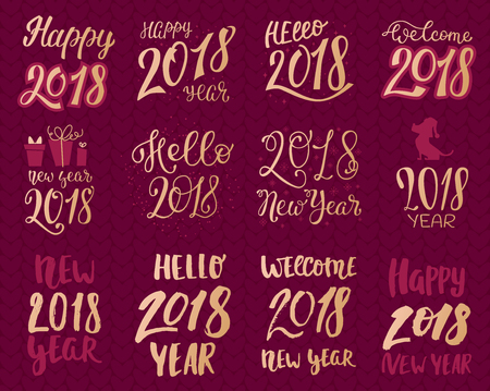 2018 happy New Year gold text template set