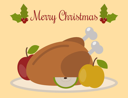 Traditional Christmas turkey food vector illustration.