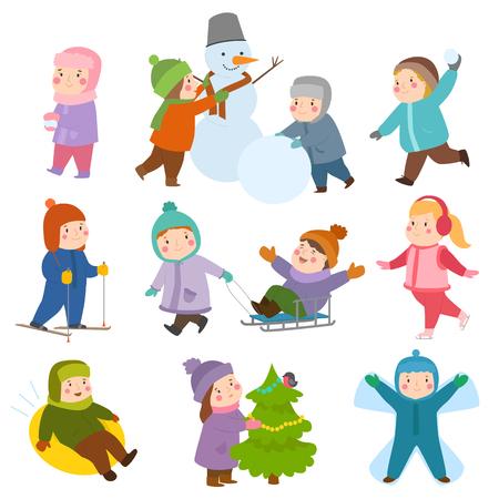 Kids playing during winter set Иллюстрация