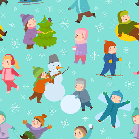 Kids playing during winter seamless pattern background Ilustracja