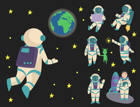 Vector astronauts in space Illustration