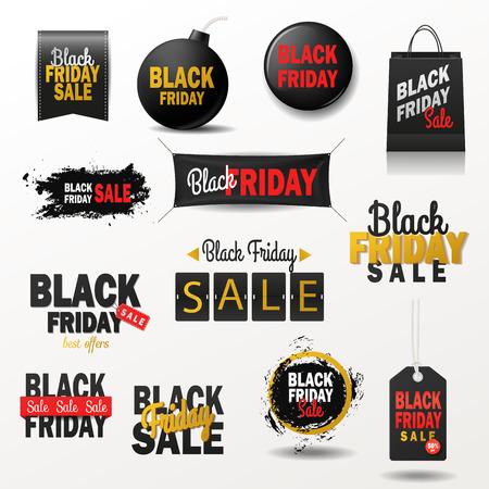 Black Friday sale banner vector set