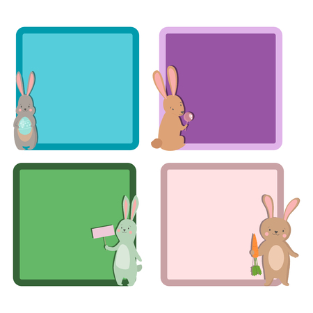 Easter rabbit with different cards template set