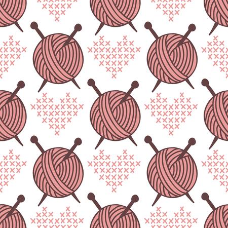 원사 clew 공 원활한 패턴 바느질 배치 짠된 종이 배경 공예 수 제 직물 벽지 벡터 일러스트 레이 션.