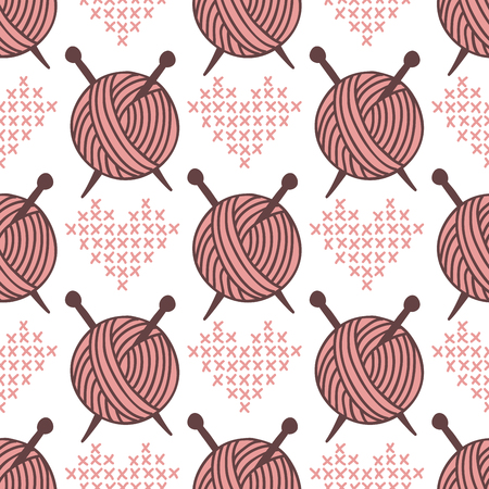 Yarn clew ball seamless pattern sewing wrapping woven paper background craft homemade fabric backdrop wallpaper vector illustration. Фото со стока - 90998783