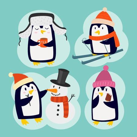 Penguin christmas vector illustration character cartoon funny cute animal antarctica polar beak pole winter bird. Stock Photo