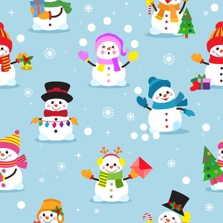 Snowman cartoon vector winter christmas character holiday merry xmas snow boys and girls illustration seamless pattern background Zdjęcie Seryjne