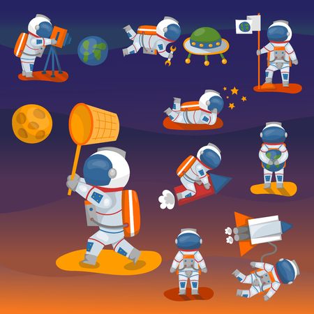 Vector astronauts in space set